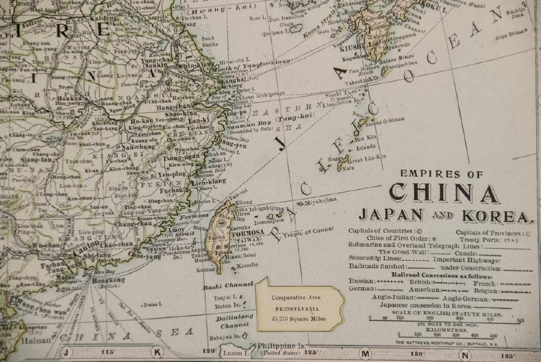Antique 19th C Victorian China Japan Korea Map - 4