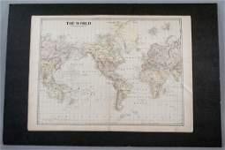 Antique 19th C Victorian Era World Map