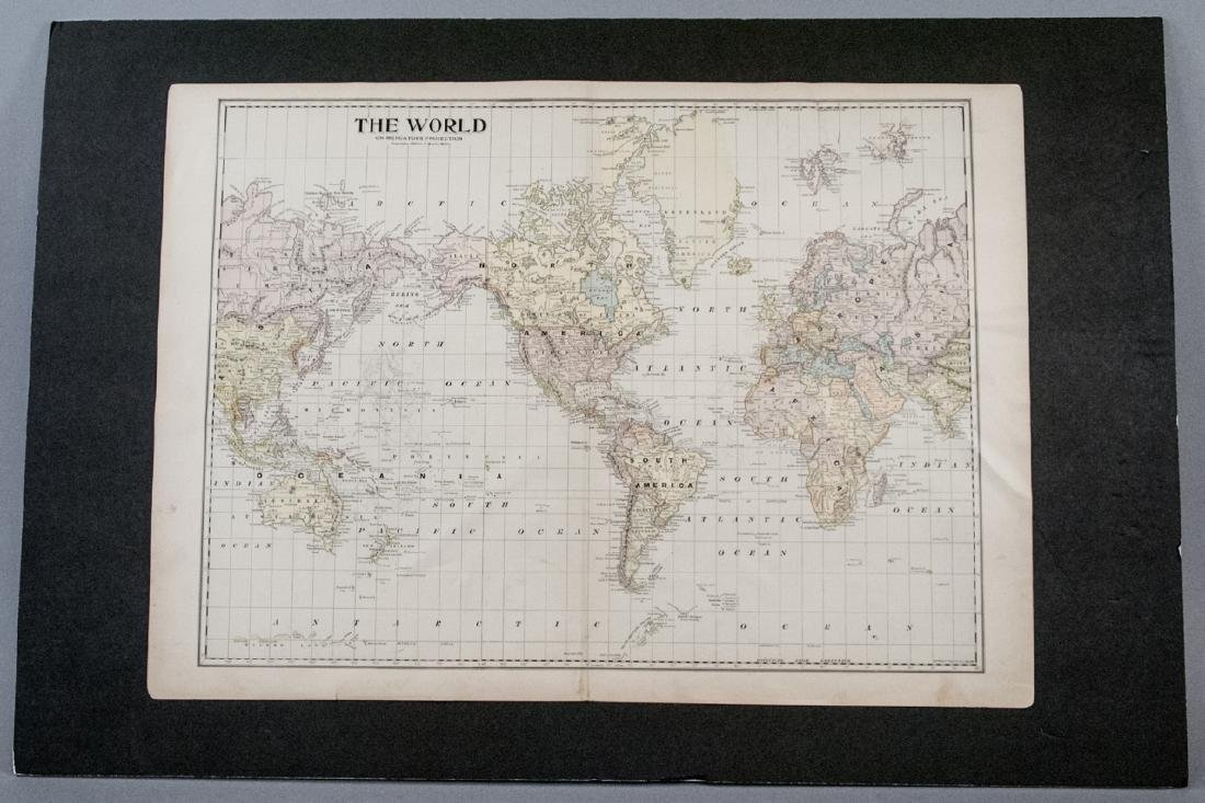 Antique 19th C Victorian Era World Map