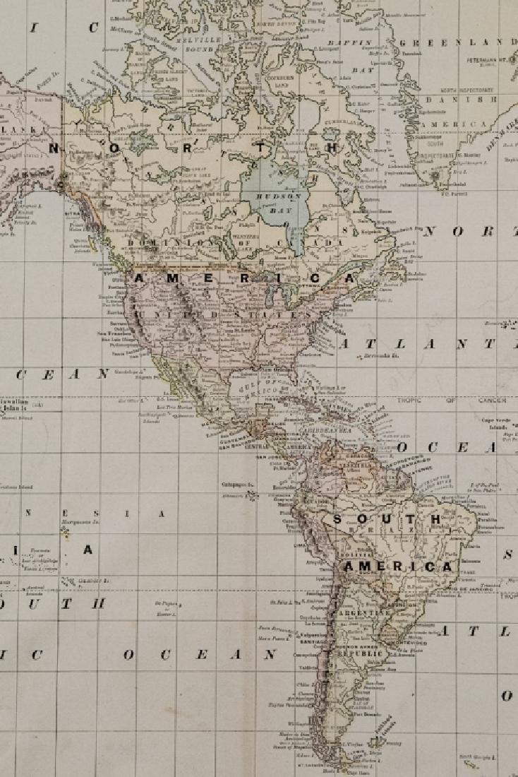Antique 19th C Victorian Era World Map - 2