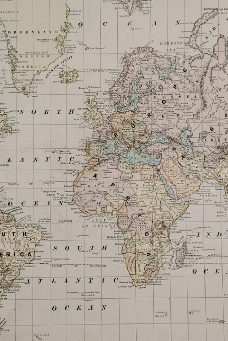 Antique 19th C Victorian Era World Map - 3