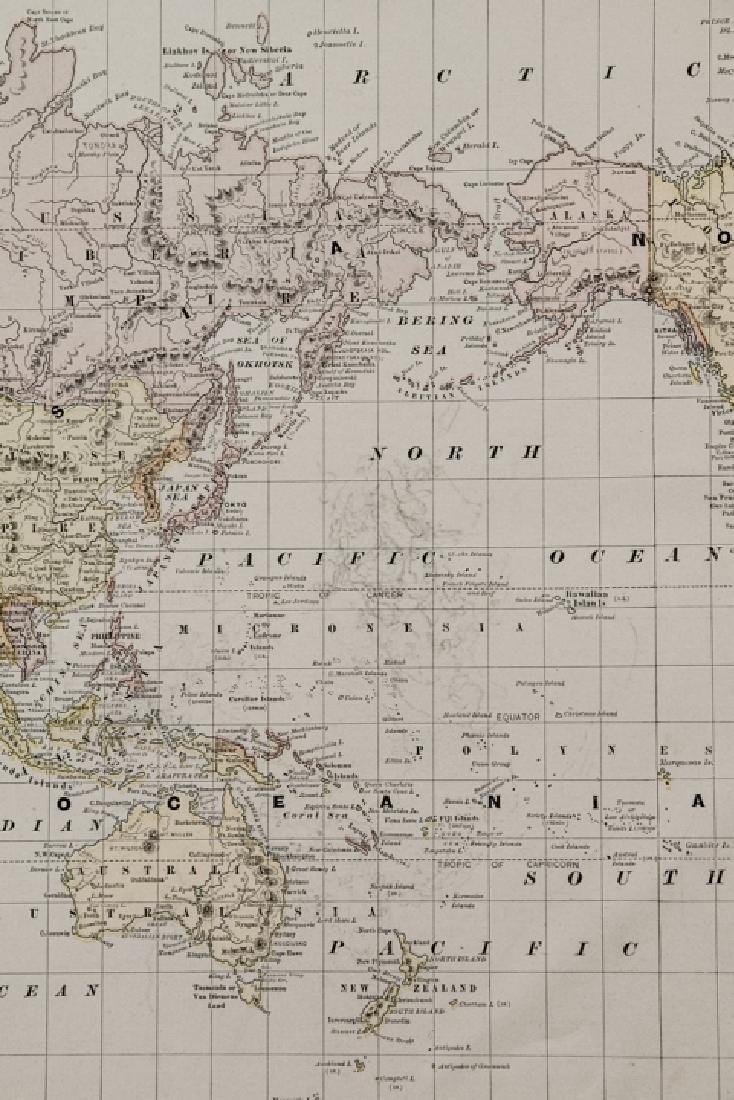 Antique 19th C Victorian Era World Map - 5