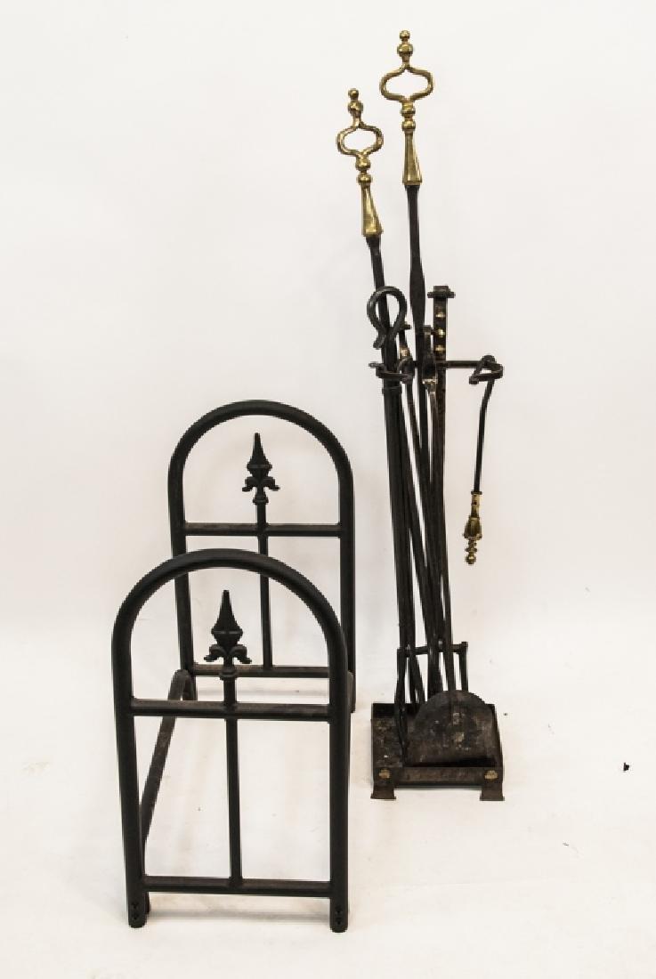 Vintage Fireplace Set & Firewood Holder