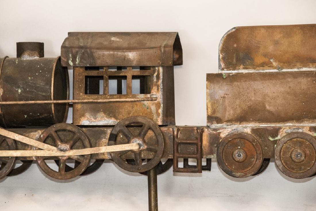 Antique Copper Train Engine Weather Vane - 2