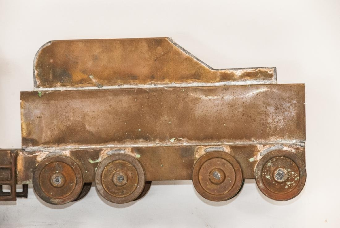 Antique Copper Train Engine Weather Vane - 3