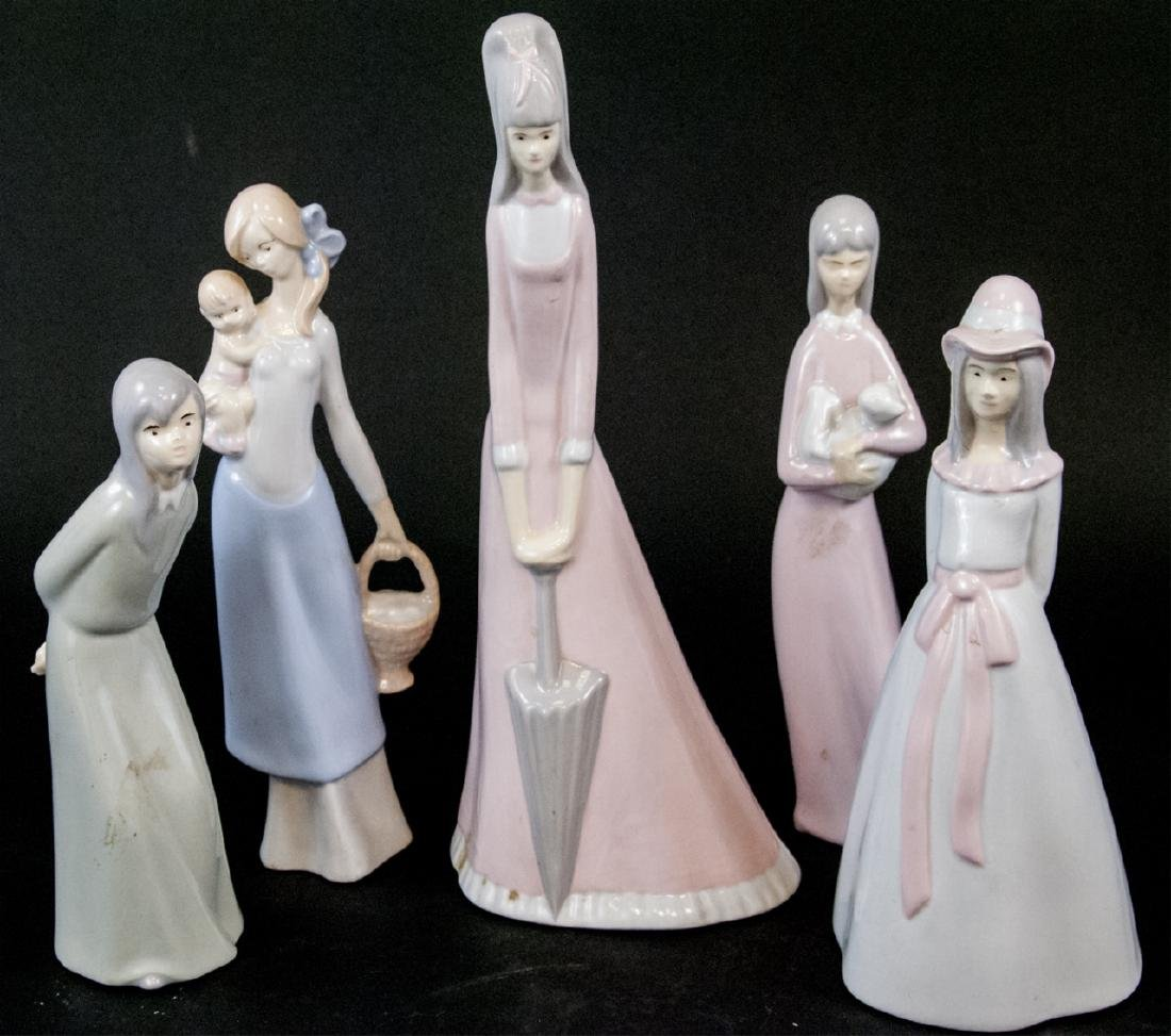 Set Of Five Vintage Porcelain Figurines