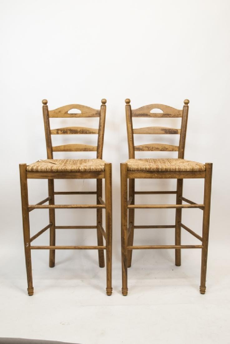 Two Wicker & Wood Bar Stools - 2