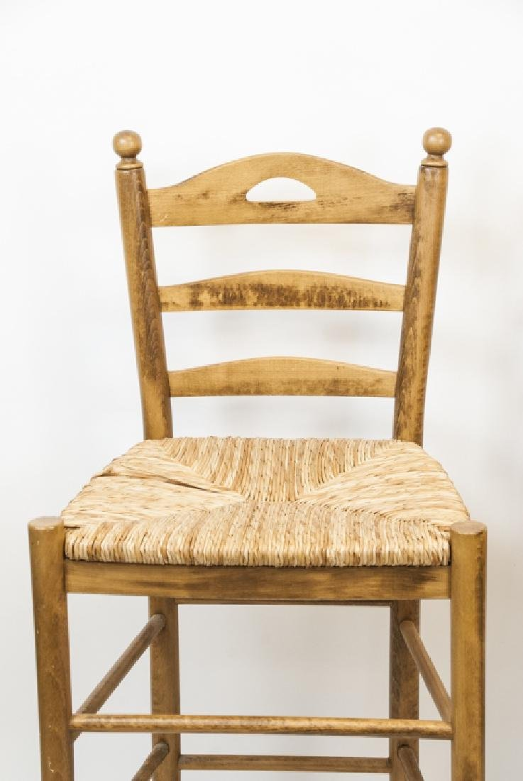 Two Wicker & Wood Bar Stools - 3