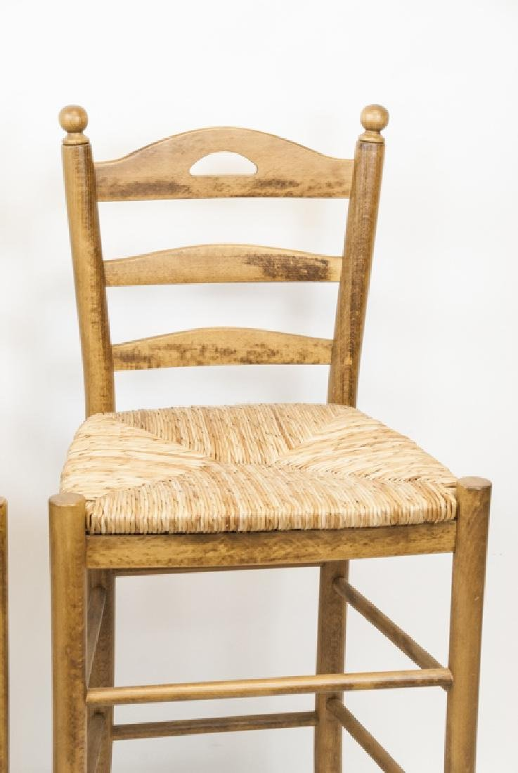 Two Wicker & Wood Bar Stools - 4