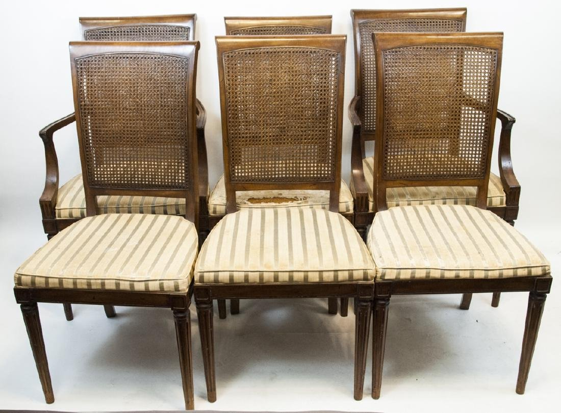 Six Vintage 19th Century Wood & Whicker Chairs