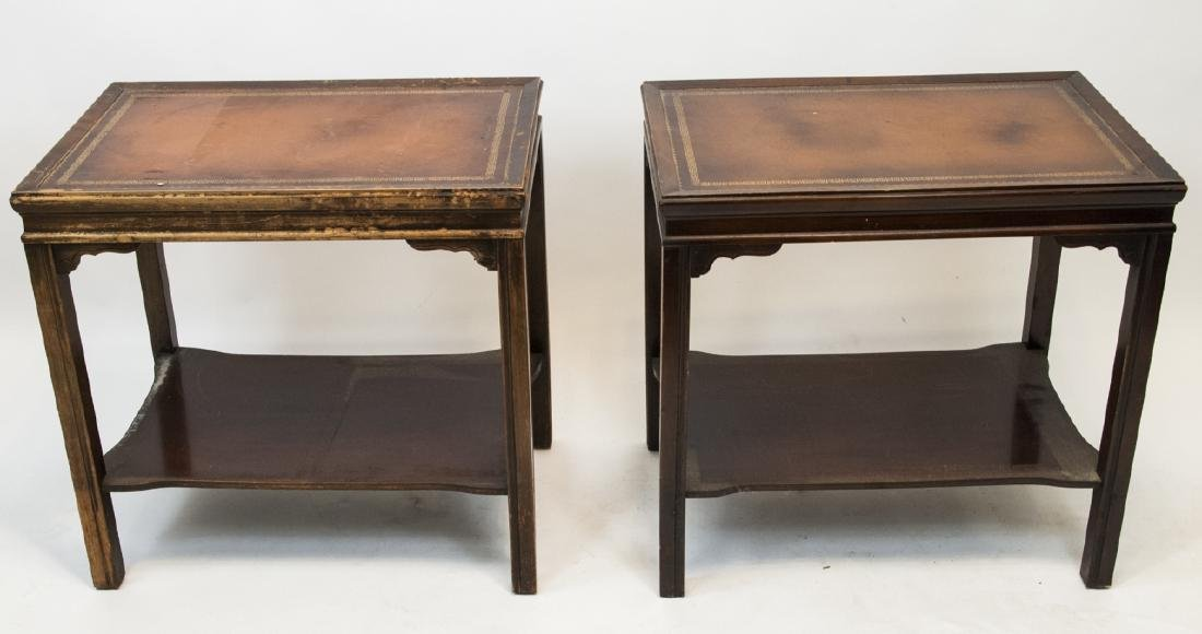 Two Vintage Leather Top End Tables