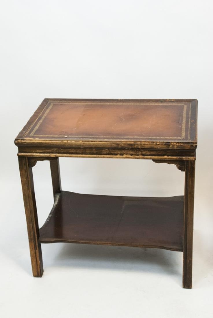 Two Vintage Leather Top End Tables - 2