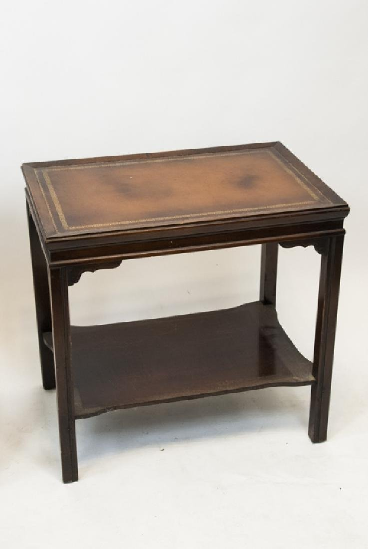 Two Vintage Leather Top End Tables - 3