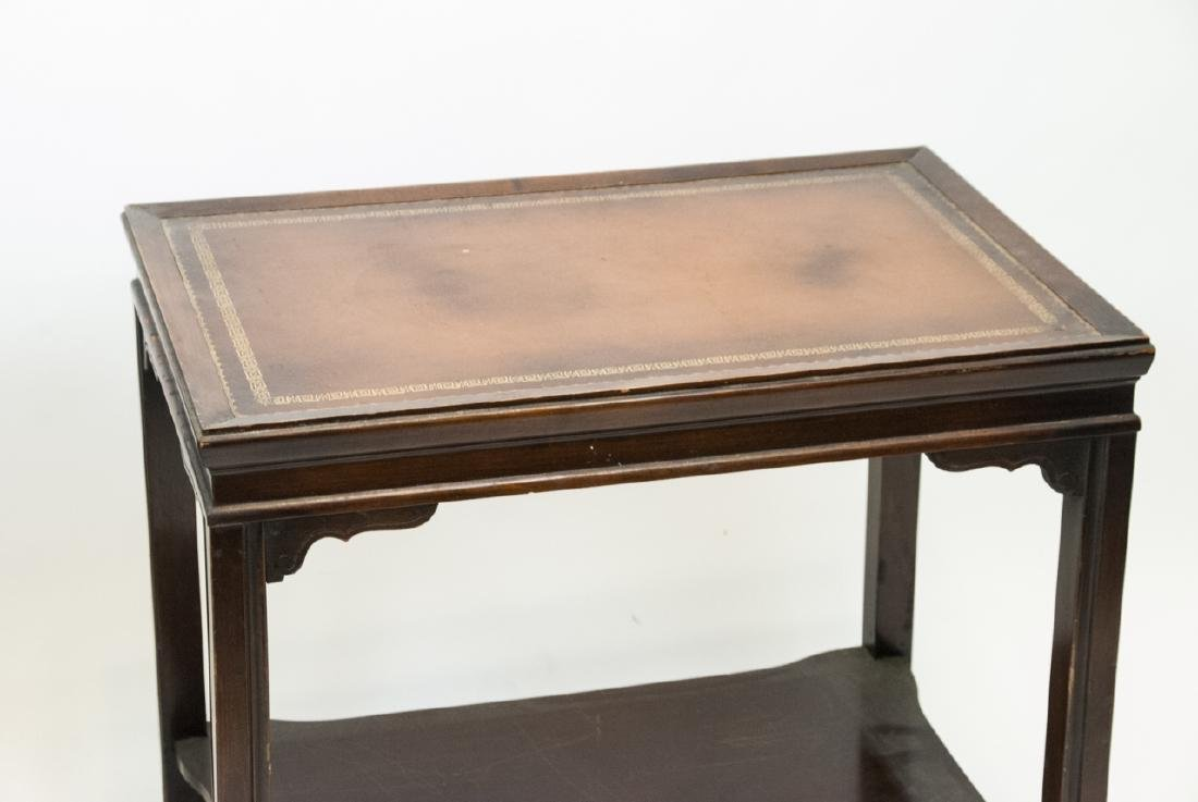 Two Vintage Leather Top End Tables - 4