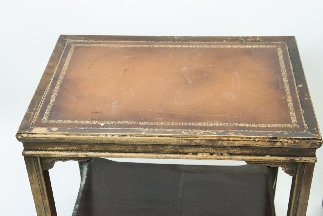 Two Vintage Leather Top End Tables - 7