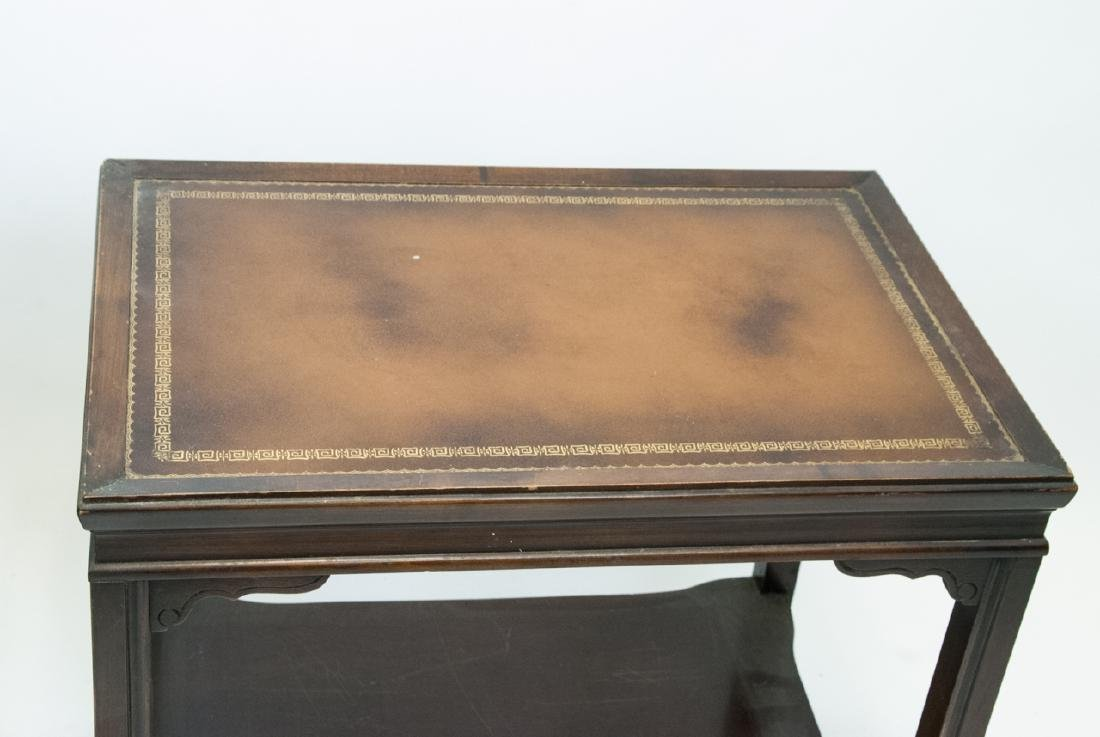 Two Vintage Leather Top End Tables - 8
