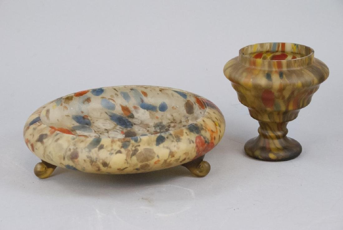 Set Of Two Multicolored Glass Bowl and Dish