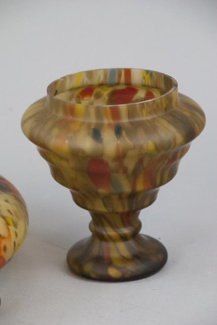 Set Of Two Multicolored Glass Bowl and Dish - 3