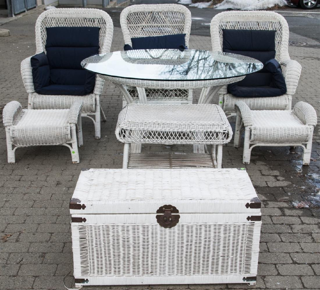 8 Piece White Whicker Outdoor Set
