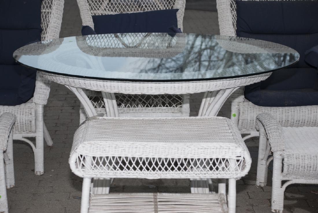 8 Piece White Whicker Outdoor Set - 3