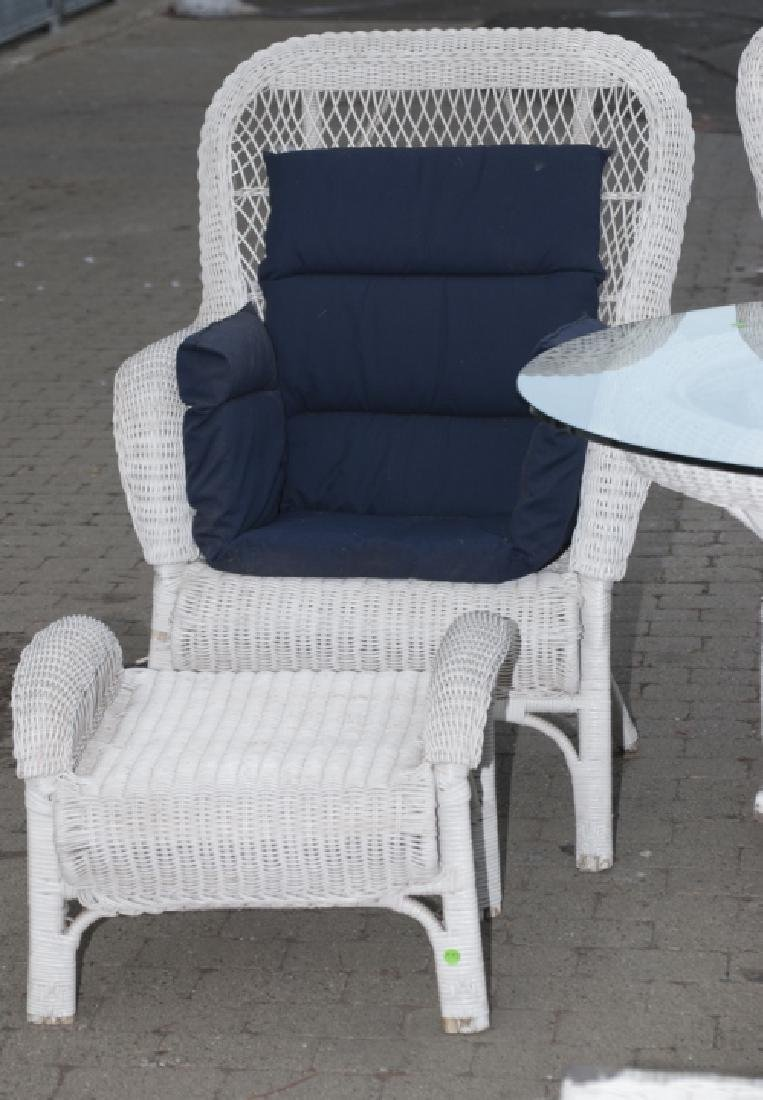 8 Piece White Whicker Outdoor Set - 4