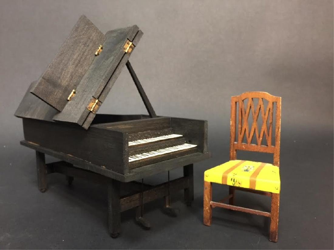 Antique Tynietoy Dollhouse Chair & Large Piano
