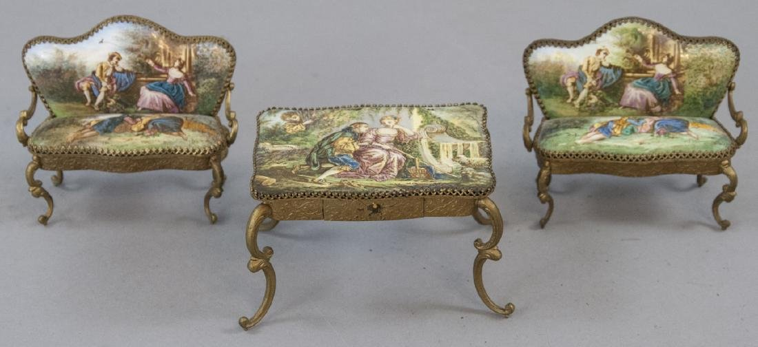 Antique Austrian Enamel Miniature Furniture