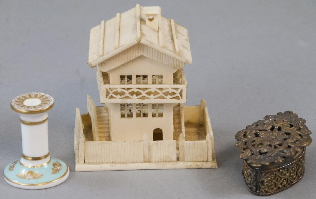 Antique Dollhouse Chalet, Ormolu Box & Candlestick
