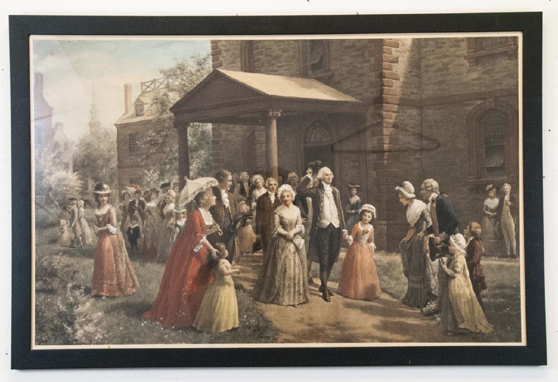 Antique George Washington Colored Lithograph Print