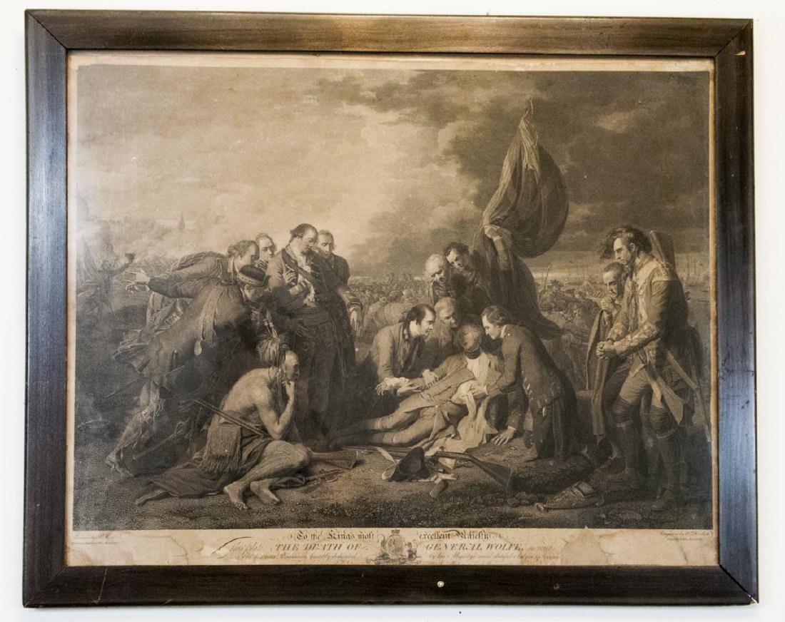 """Antique """"The Death of General Wolfe"""" Engraving"""
