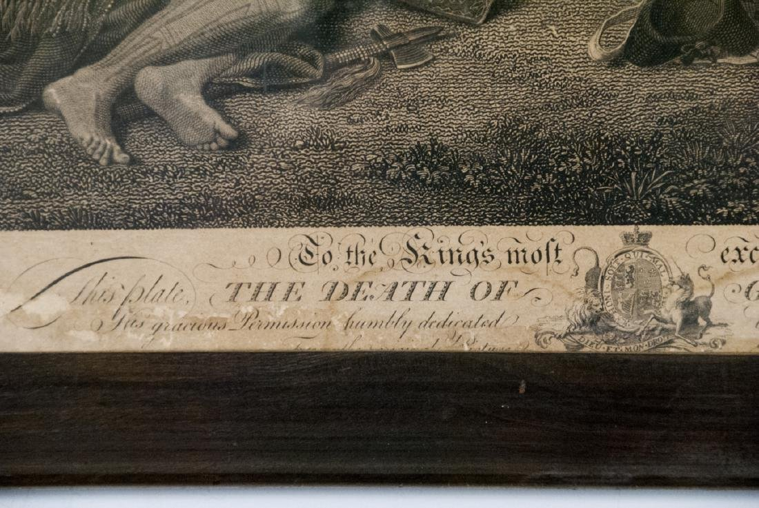 """Antique """"The Death of General Wolfe"""" Engraving - 5"""