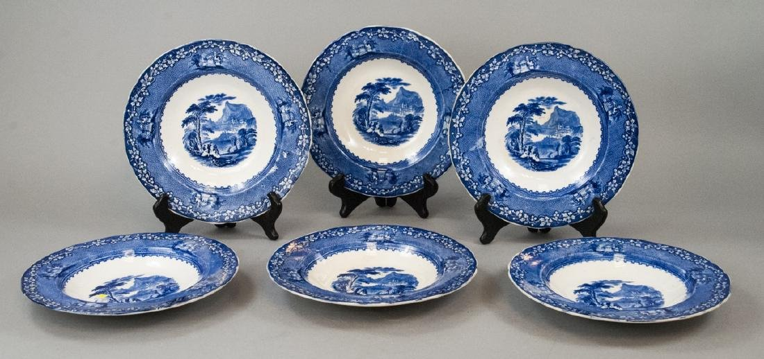 Set Of Six Porcelain Blue Fine China Plates