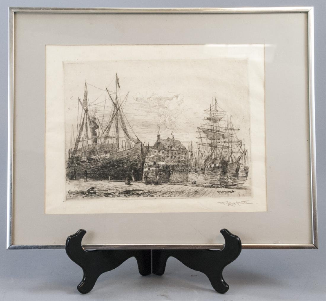 Antique Signed Frederick Leo Hunter Etching