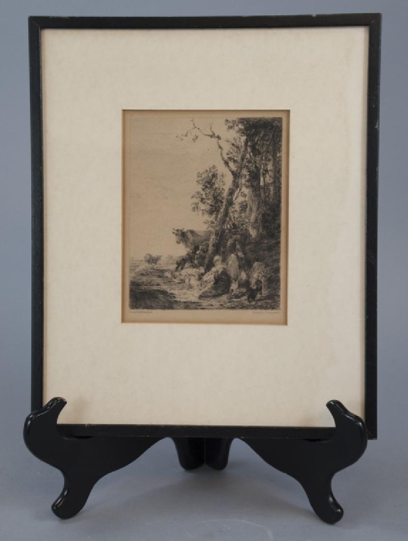Antique Landscape Engraving By Nicholaes Bercherm