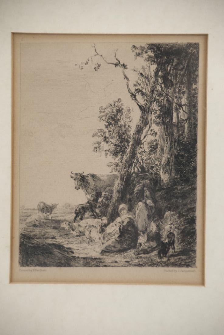 Antique Landscape Engraving By Nicholaes Bercherm - 2