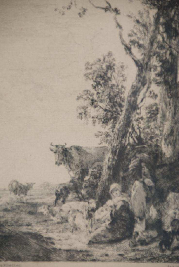 Antique Landscape Engraving By Nicholaes Bercherm - 3