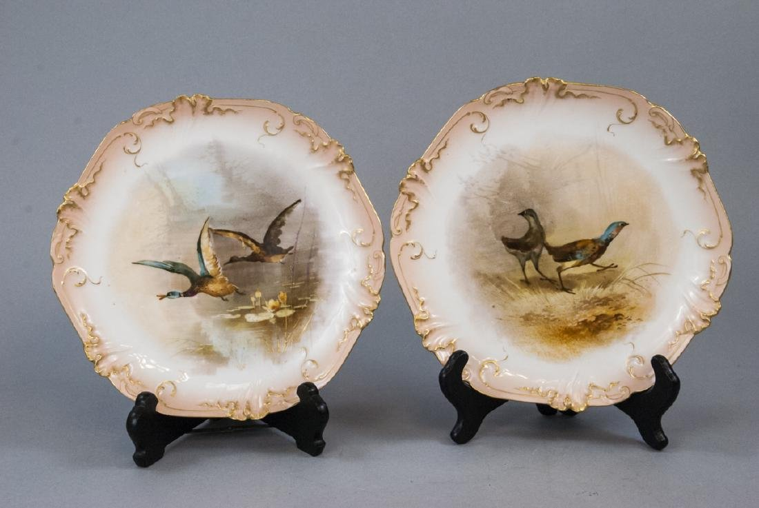 Pair Antique Hand Painted Limoges Duck Scene Plate