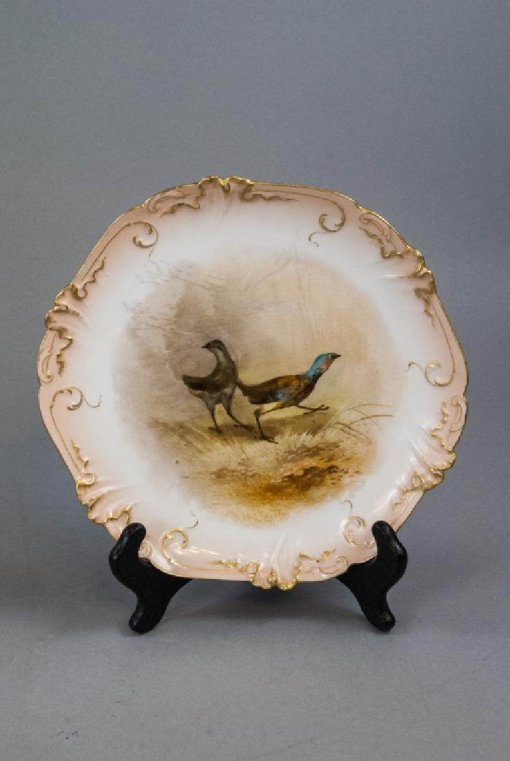 Pair Antique Hand Painted Limoges Duck Scene Plate - 2