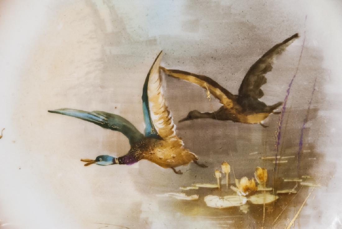 Pair Antique Hand Painted Limoges Duck Scene Plate - 6