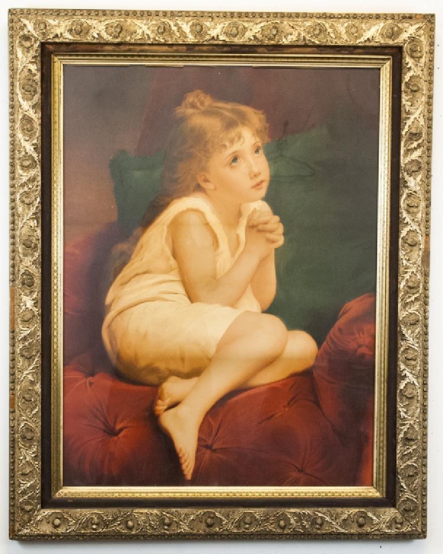 Large Antique 19th C Victorian Gold & Velvet Frame