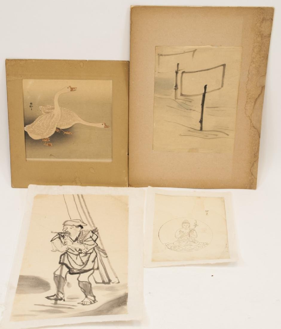 4 Antique & Vintage Japanese Works on Paper