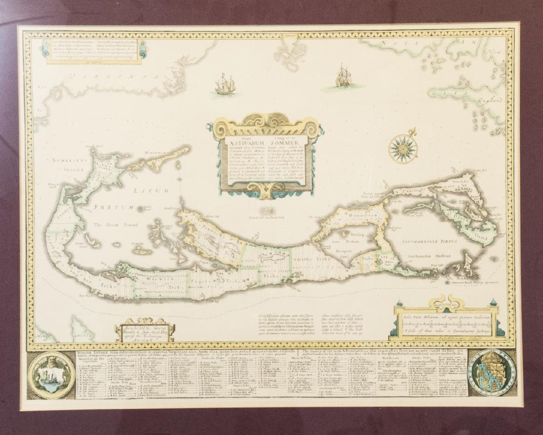 Framed & Matted Vintage Map Of The Bermudas - 8