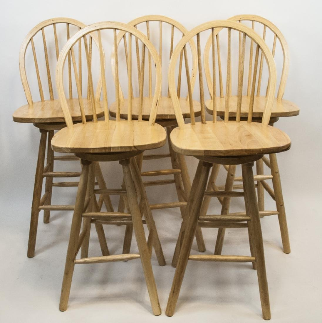 Set Of Five Contemporary Wood Bar Stools