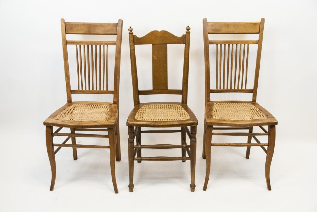 Group Of Three Vintage Cane Seat Chairs