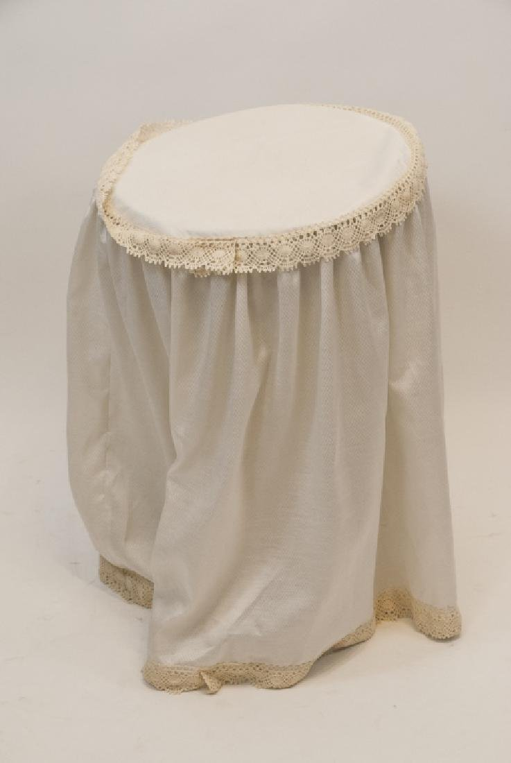 Vintage Small Round  Wooden Side Table With Cover - 2