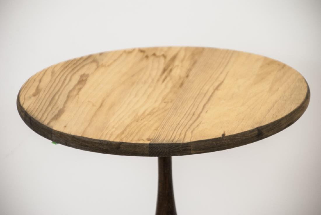 Vintage Small Round  Wooden Side Table With Cover - 6