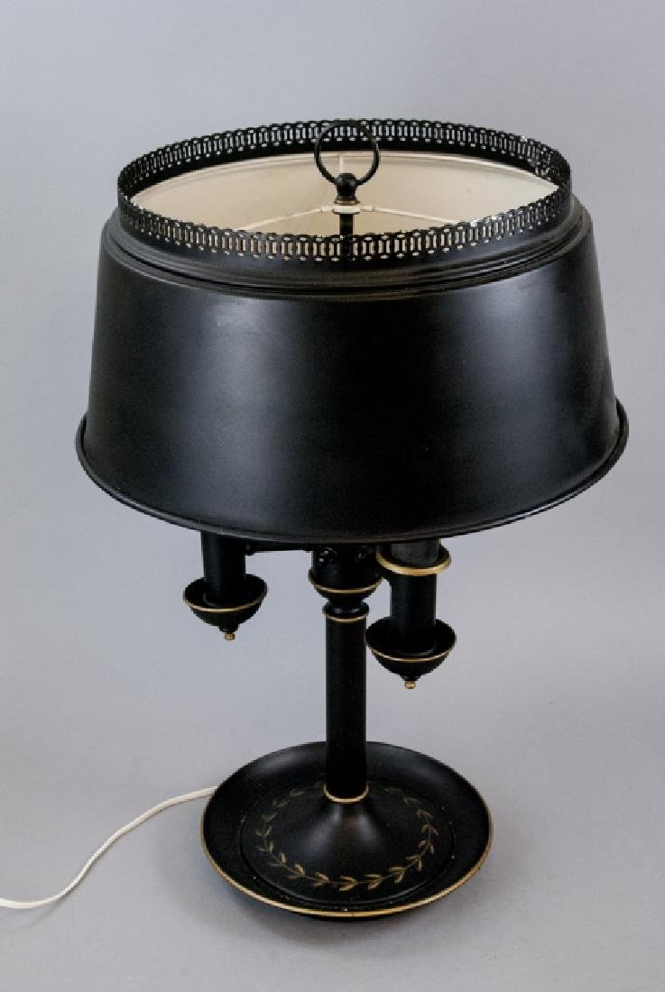 Black French Style Bouillotte Tole Table Side Lamp - 7