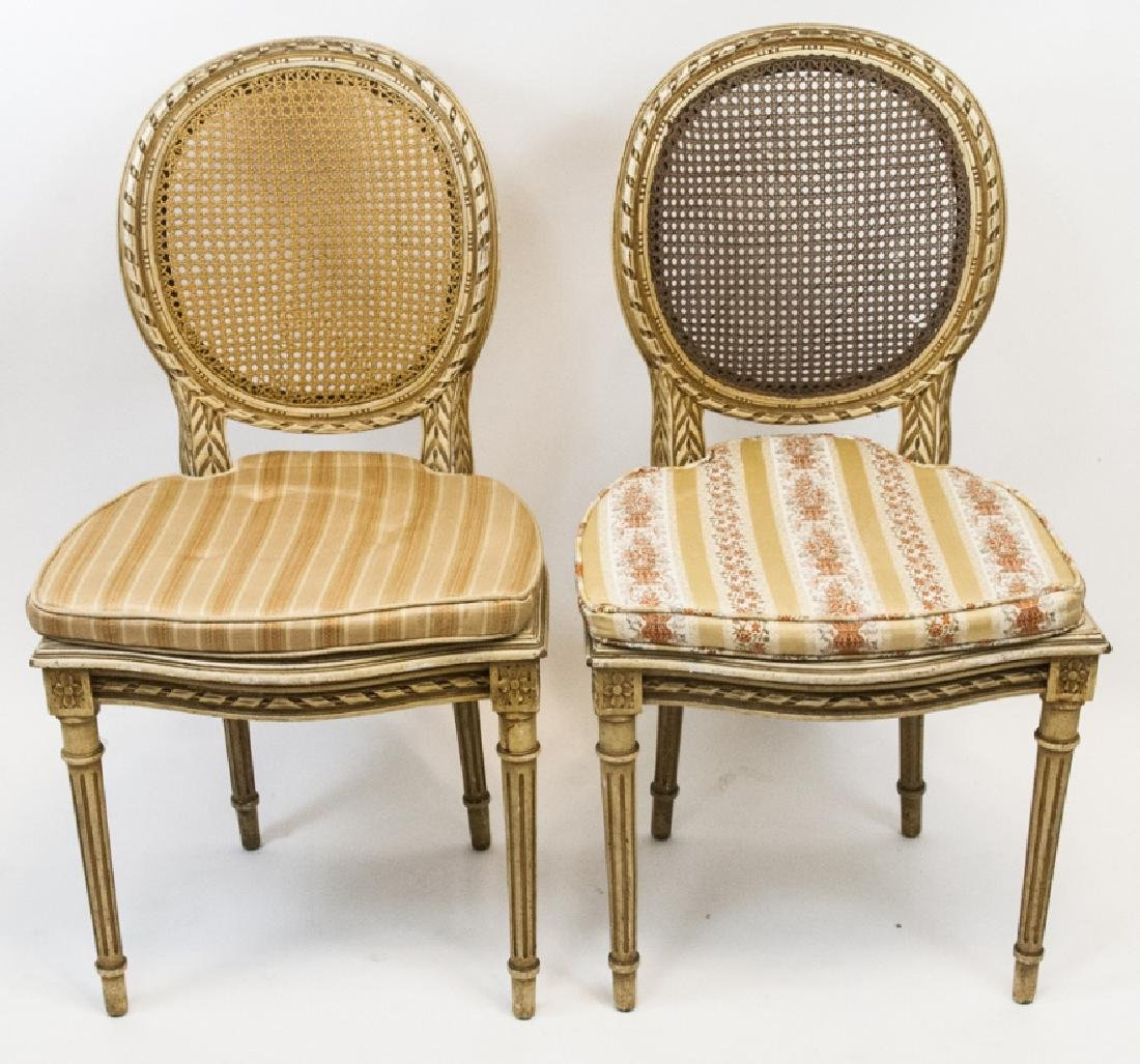 Pair Antique Carved & Caned French Style Chairs