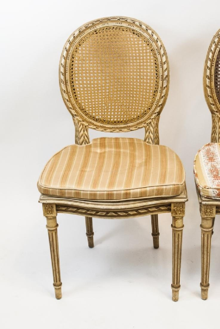 Pair Antique Carved & Caned French Style Chairs - 2