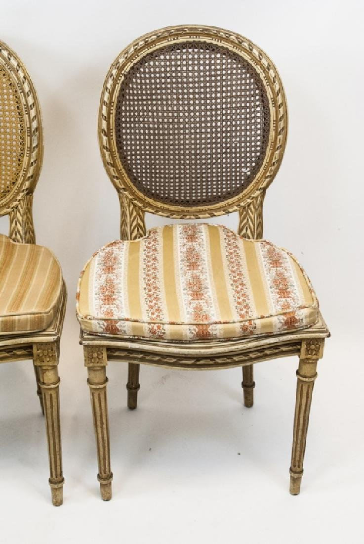 Pair Antique Carved & Caned French Style Chairs - 3